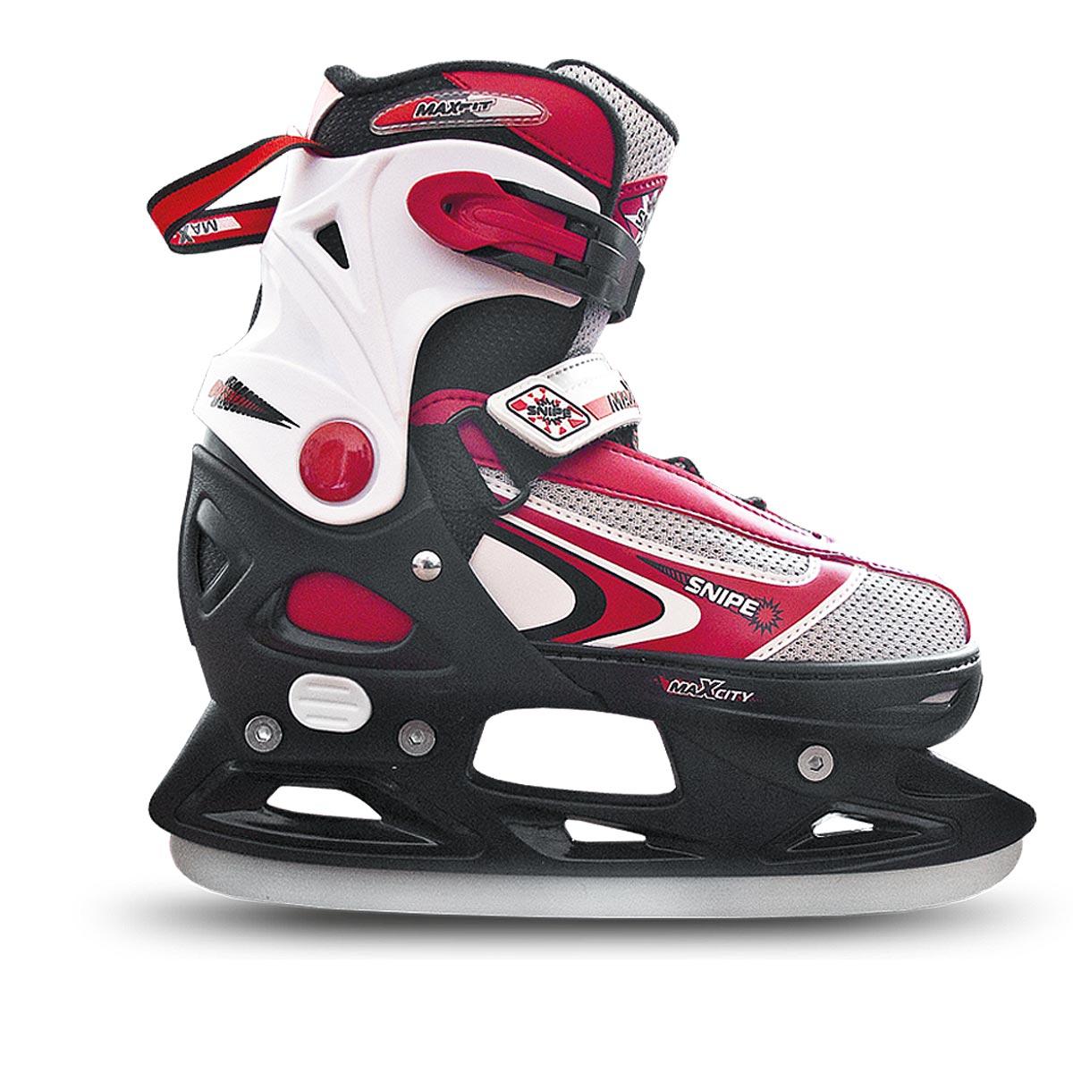 Коньки ледовые для мальчика MaxCity Snipe Boy, раздвижные, цвет: черный, серый, красный. Размер 33/36
