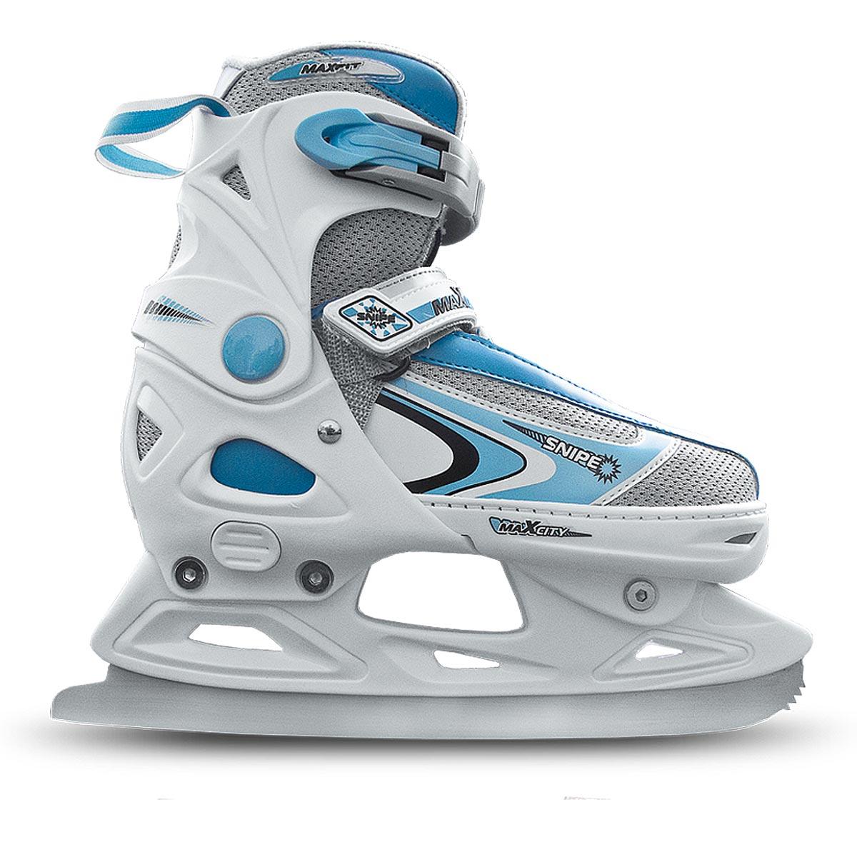 Коньки ледовые женские MaxCity Snipe Girl, раздвижные, цвет: белый, голубой. Размер 37/40SNIPE girl_белый, голубой_37-40Оригинальные раздвижные ледовые коньки MaxCity с ударопрочной защитной конструкцией отлично подойдут для начинающих. Ботинки изготовлены из морозостойкого пластика, который защитит ноги от ударов, и дополнены нейлоном. Внутренний материал из вельвета и капровелюра отлично согревает и обеспечивает комфорт во время движения. Нейлоновые вставки на язычке предотвращают перегревание и отводят влагу. Высокий ботинок обеспечивает отличную поддержку ноги. Модель застегивается несколькими способами для надежной фиксации ноги - классическая шнуровка, липучка Velcro и пластиковые затягивающиеся ремешки. Стальное лезвие обеспечит превосходное скольжение. Основная особенность коньков - возможность изменения размера. Изменение длины ботинка осуществляется достаточно просто и занимает несколько секунд.