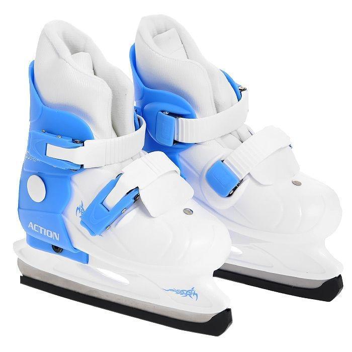 Коньки детские Action PW-219, раздвижные, цвет: голубой, белый. Размер 33/36Action PW-219-2 2013-2014 Blue-White_33/36Коньки Action PW-219 предназначены для любительского катания на искусственном и естественном льду, произведены из современных высококачественных материалов. Удобно, комфортно и просто изменить размер коньков. Удобный и надежный механизм застегивания, включающий две клипсы с фиксаторами, а так же специальная манжета, облегчающая ступню, делают катание на этих коньках безопасным и комфортным. Лезвие изготовлено из нержавеющей стали.