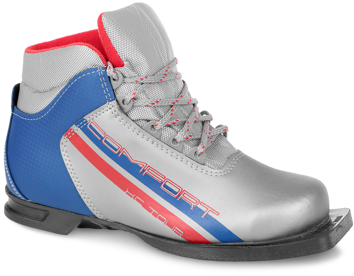 Ботинки лыжные Marax, цвет: серебряный, синий, красный. М350. Размер 44Karjala Comfort NNNЛыжные ботинки Marax предназначены для активного отдыха. Модельизготовлена из морозостойкой искусственной кожи и текстиля. Подкладка выполнена из искусственного меха и флиса, благодаря чему ваши ноги всегда будут в тепле. Шерстяная стелька комфортна при беге. Вставка на заднике обеспечивает дополнительную жесткость, позволяя дольше сохранять первоначальную форму ботинка и предотвращать натирание стопы. Ботинки снабжены шнуровкой с пластиковыми петлями и язычком-клапаном, который защищает от попадания снега и влаги. Подошва системы 75 мм из двухкомпонентной резины является надежной и весьма простой системой крепежа и позволяет безбоязненно использовать ботинокдо -25°С. В таких лыжных ботинках вам будет комфортно и уютно.