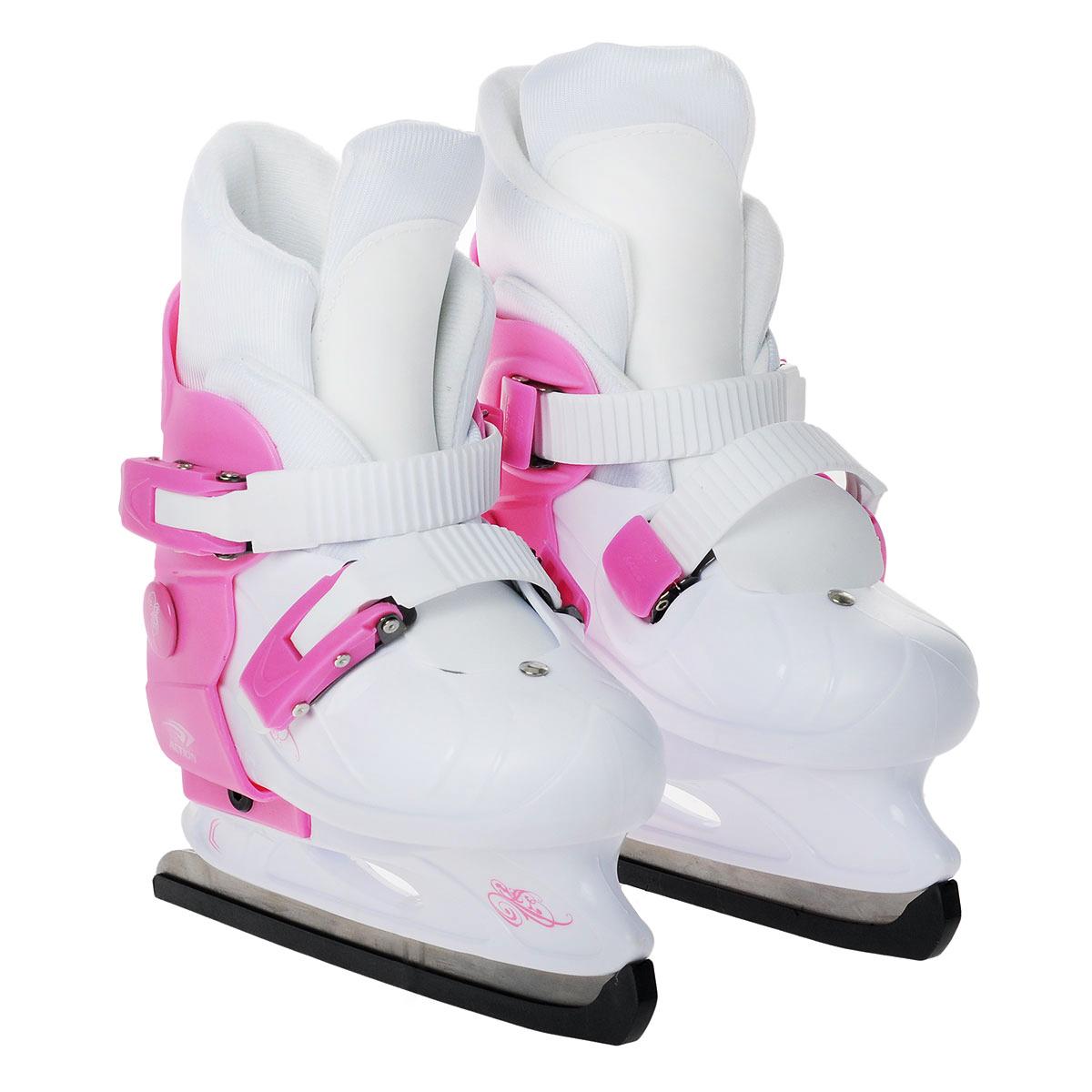 Коньки детские Action PW-219, раздвижные, цвет: розовый, белый. Размер 33/36ASE-611FКоньки Action PW-219 предназначены для любительского катания на искусственном и естественном льду, произведены из современных высококачественных материалов. Удобно, комфортно и просто изменить размер коньков. Удобный и надежный механизм застегивания, включающий две клипсы с фиксаторами, а так же специальная манжета, облегчающая ступню, делают катание на этих коньках безопасным и комфортным. Лезвие изготовлено из нержавеющей стали.
