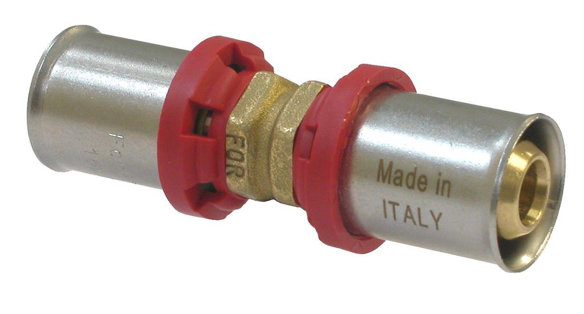 Соединитель Fornara под пресс, п - п, 16 x 1630630Соединитель Fornara предназначен для соединения металлопластиковых труб под пресс с помощью разводного ключа. Соединение получается разъемным, что позволяет при необходимости заменять уплотнительные кольца, а также производить обслуживание участка трубопровода.