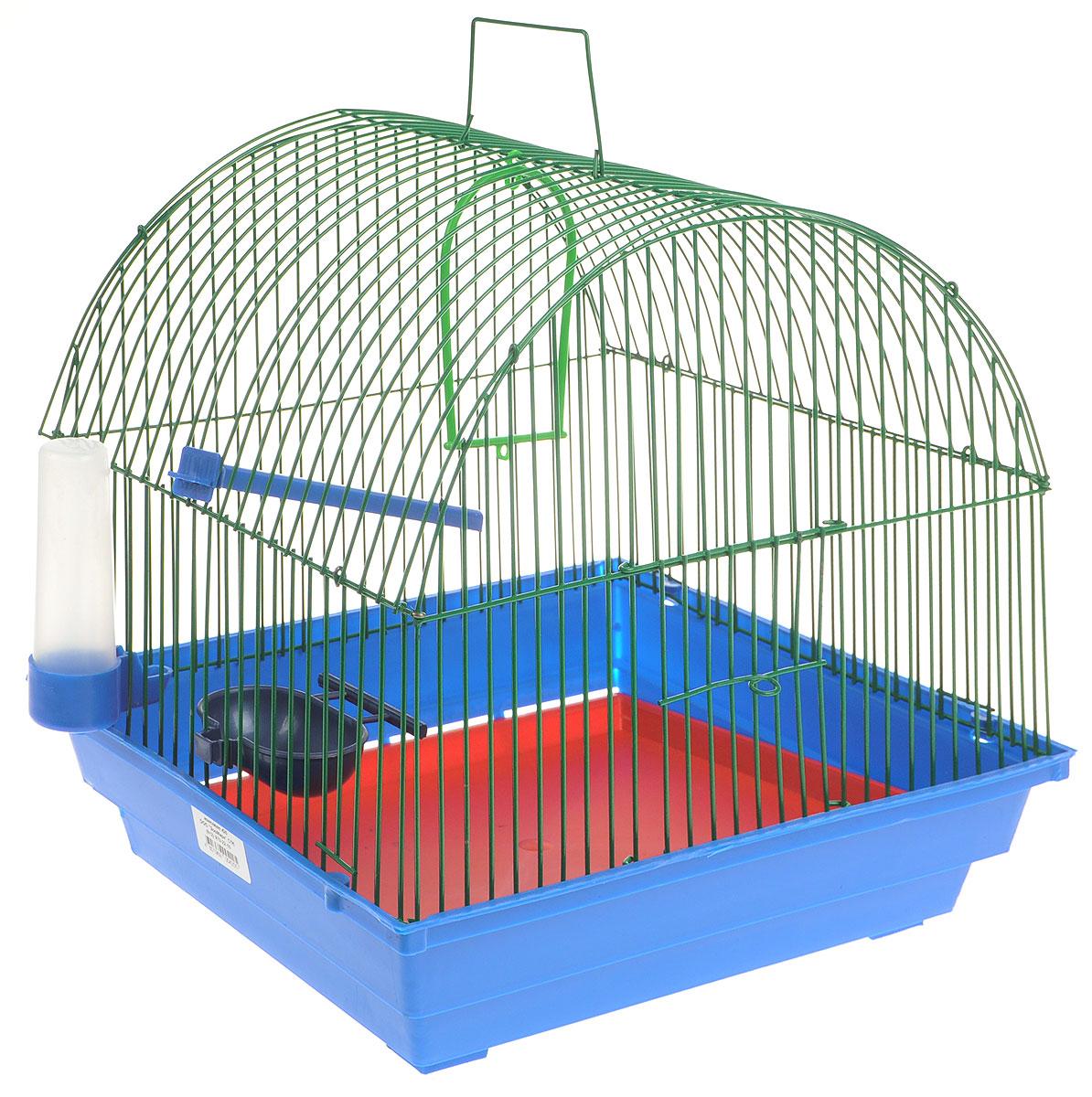 Клетка для птиц ЗооМарк, цвет: синий поддон, зеленая решетка, 35 х 28 х 34 см0120710Клетка ЗооМарк, выполненная из полипропилена и металла с эмалированным покрытием, предназначена для мелких птиц.Изделие состоит из большого поддона и решетки. Клетка снабжена металлической дверцей. В основании клетки находится малый поддон. Клетка удобна в использовании и легко чистится. Она оснащена жердочкой, кольцом для птицы, поилкой, кормушкой и подвижной ручкой для удобной переноски. Комплектация: - клетка с поддоном, - малый поддон; - поилка; - кормушка;- кольцо.