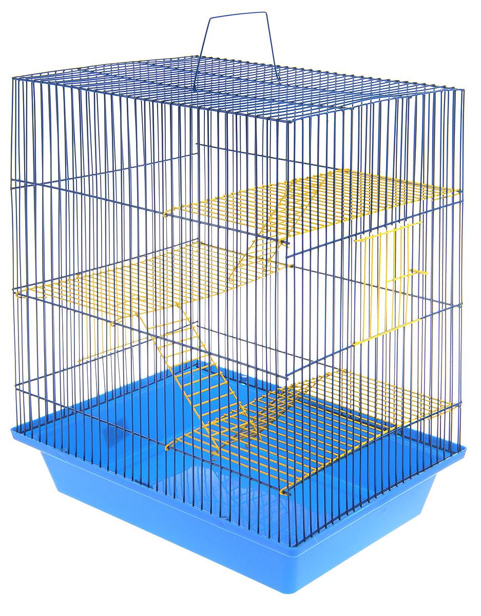 Клетка для грызунов ЗооМарк Гризли, 4-этажная, цвет: синий поддон, синяя решетка, желтые этажи, 41 х 30 х 50 см. 240ж0120710Клетка ЗооМарк Гризли, выполненная из полипропилена и металла, подходит для мелких грызунов. Изделие четырехэтажное. Клетка имеет яркий поддон, удобна в использовании и легко чистится. Сверху имеется ручка для переноски. Такая клетка станет уединенным личным пространством и уютным домиком для грызуна.