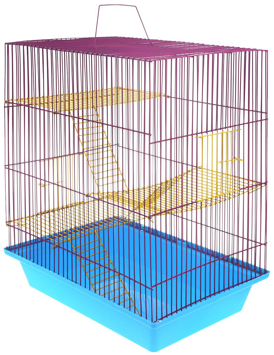Клетка для грызунов ЗооМарк Гризли, 4-этажная, цвет: синий поддон, фиолетовая решетка, желтые этажи, 41 х 30 х 50 см. 240ж240ж_синий, фиолетовый, желтыйКлетка ЗооМарк Гризли, выполненная из полипропилена и металла, подходит для мелких грызунов. Изделие четырехэтажное. Клетка имеет яркий поддон, удобна в использовании и легко чистится. Сверху имеется ручка для переноски. Такая клетка станет уединенным личным пространством и уютным домиком для маленького грызуна.