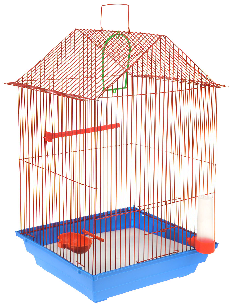 Клетка для птиц ЗооМарк, цвет: синий поддон, красная решетка, 34 x 28 х 54 см3336022058444 / 205844Клетка ЗооМарк, выполненная из полипропилена и металла с эмалированным покрытием, предназначена для мелких птиц.Изделие состоит из большого поддона и решетки. Клетка снабжена металлической дверцей. В основании клетки находится малый поддон. Клетка удобна в использовании и легко чистится. Она оснащена жердочкой, кольцом для птицы, поилкой, кормушкой и подвижной ручкой для удобной переноски. Комплектация: - клетка с поддоном, - малый поддон; - поилка; - кормушка;- кольцо.