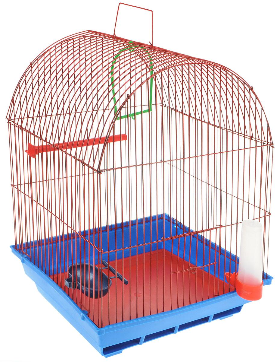 Клетка для птиц ЗооМарк, цвет: синий поддон, красная решетка, 35 х 28 х 45 см0120710Клетка ЗооМарк, выполненная из полипропилена и металла, предназначена для мелких птиц. Вы можете поселить в нее одну или две птицы. Изделие состоит из большого поддона и решетки. Клетка снабжена металлической дверцей, которая открывается и закрывается движением вверх-вниз. В основании клетки находится малый поддон. Клетка удобна в использовании и легко чистится. Она оснащена жердочкой, кольцом для птицы, кормушкой, поилкой и подвижной ручкой для удобной переноски. Комплектация: - клетка с поддоном, - малый поддон; - кормушка; - поилка; - кольцо.