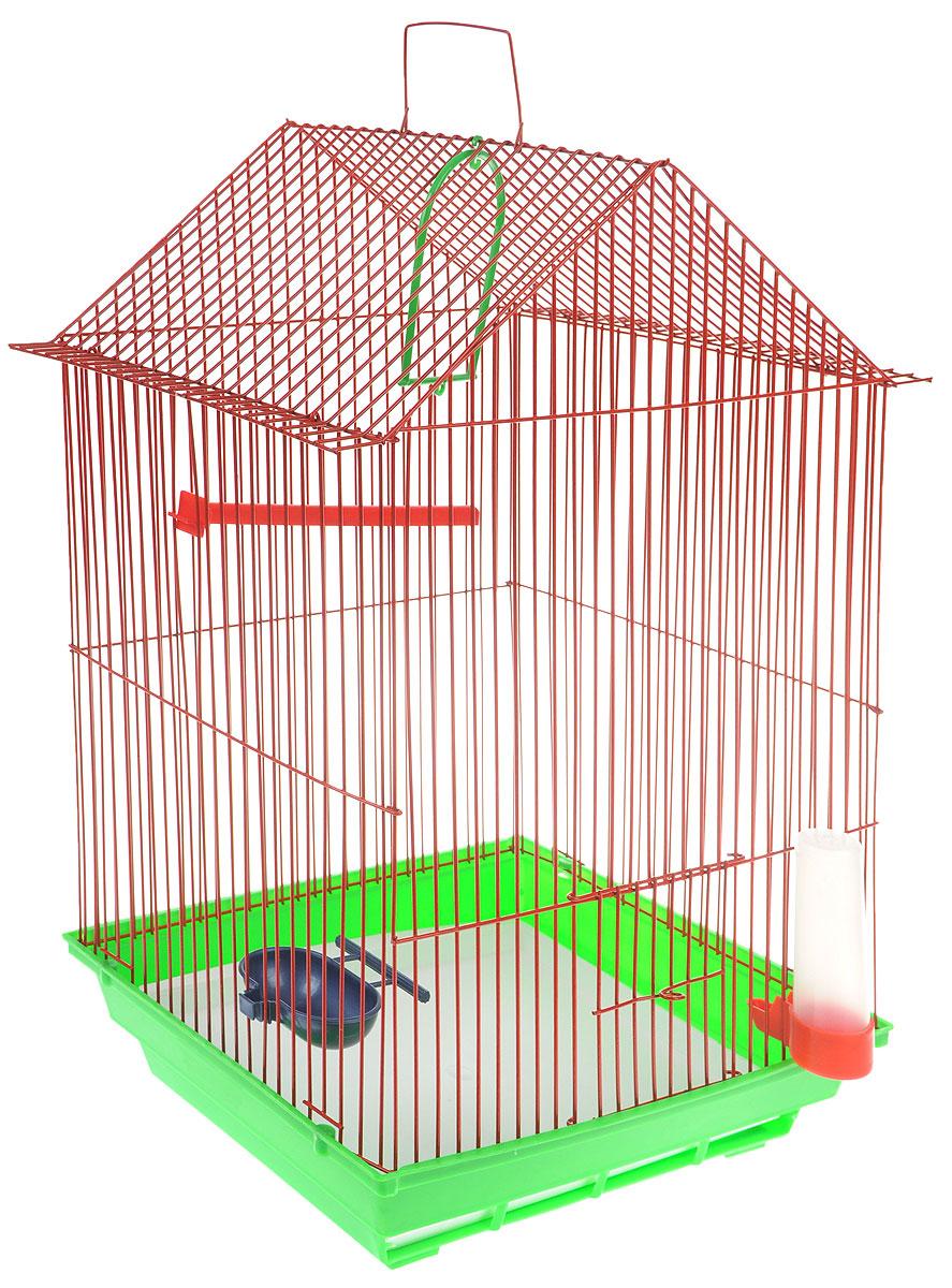 Клетка для птиц ЗооМарк, цвет: зеленый поддон, красная решетка, 34 x 28 х 54 см0120710Клетка ЗооМарк, выполненная из полипропилена и металла с эмалированным покрытием, предназначена для мелких птиц.Изделие состоит из большого поддона и решетки. Клетка снабжена металлической дверцей. В основании клетки находится малый поддон. Клетка удобна в использовании и легко чистится. Она оснащена жердочкой, кольцом для птицы, поилкой, кормушкой и подвижной ручкой для удобной переноски. Комплектация: - клетка с поддоном, - малый поддон; - поилка; - кормушка;- кольцо.