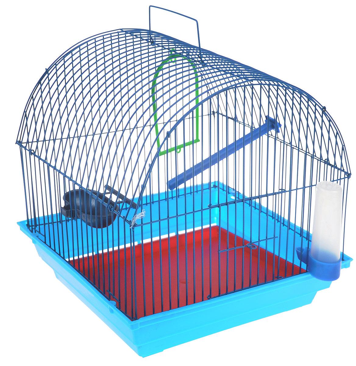 Клетка для птиц ЗооМарк, цвет: голубой поддон, синяя решетка, 35 х 28 х 34 см0120710Клетка ЗооМарк, выполненная из полипропилена и металла с эмалированным покрытием, предназначена для мелких птиц.Изделие состоит из большого поддона и решетки. Клетка снабжена металлической дверцей. В основании клетки находится малый поддон. Клетка удобна в использовании и легко чистится. Она оснащена жердочкой, кольцом для птицы, поилкой, кормушкой и подвижной ручкой для удобной переноски. Комплектация: - клетка с поддоном, - малый поддон; - поилка; - кормушка;- кольцо.