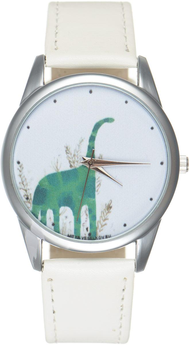 Часы наручные Mitya Veselkov Динозавр, цвет: белый, зеленый. MV.White-69BM8434-58AEОригинальные часы Mitya Veselkov Динозаврпонравятся вам с первого взгляда. Корпус часов выполнен из стали, и дополнен задней крышкой. В центре корпуса располагаются круглые кварцевые часы с тремя стрелками. Циферблат оформлен оригинальным изображением динозавра. Часы оснащены кожаным ремешком, который фиксируется с помощью пряжки. Часы упакованы в фирменную упаковку в виде стакана. Такие часы станут отличным подарком человеку, любящему качественные и оригинальные вещи.