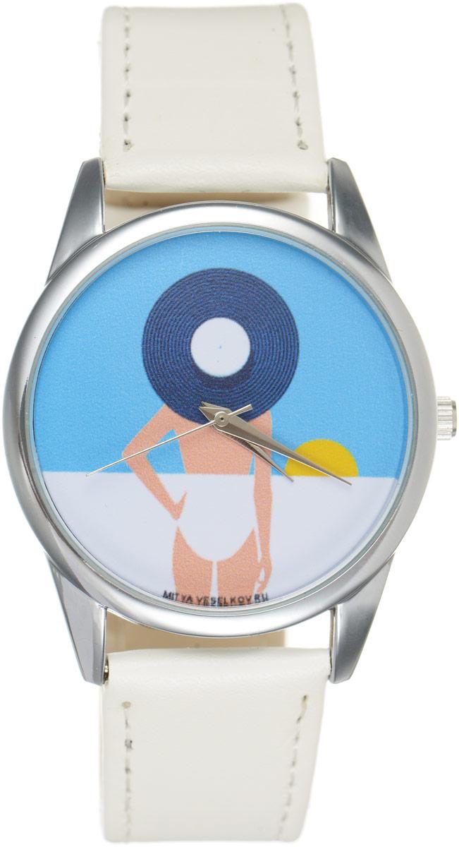 Часы наручные женские Mitya Veselkov Пляж, цвет: белый, голубой. MV.White-66BM8434-58AEОригинальные часы Mitya Veselkov Пляжпонравятся вам с первого взгляда. Корпус часов выполнен из стали, и дополнен задней крышкой. В центре корпуса располагаются круглые кварцевые часы с тремя стрелками. Циферблат оформлен оригинальным принтом с изображением девушки на пляже. Часы оснащены кожаным ремешком, который фиксируется с помощью пряжки. Часы упакованы в фирменную упаковку в виде стакана. Такие часы станут отличным подарком человеку, любящему качественные и оригинальные вещи.