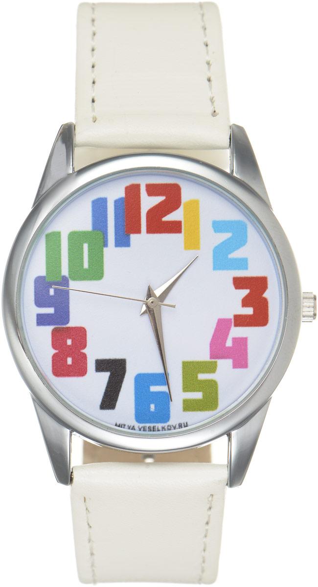 Часы наручные Mitya Veselkov Числа, цвет: белый, мультиколор. MV.White-57BM8434-58AEОригинальные часы Mitya Veselkov Числапонравятся вам с первого взгляда. Корпус часов выполнен из стали, и дополнен задней крышкой. В центре корпуса располагаются круглые кварцевые часы с тремя стрелками. Цифры выполнены в разных цветах. Часы оснащены кожаным ремешком, который фиксируется с помощью пряжки. Часы упакованы в фирменную упаковку в виде стакана. Такие часы станут отличным подарком человеку, любящему качественные и оригинальные вещи.