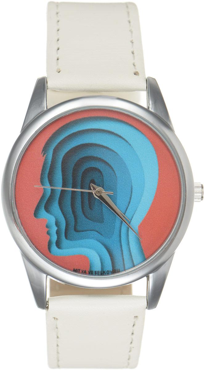 Часы наручные Mitya Veselkov Голова, цвет: белый, красный, синий. MV.White-59BM8434-58AEОригинальные часы Mitya Veselkov Головапонравятся вам с первого взгляда. Корпус часов выполнен из стали, и дополнен задней крышкой. В центре корпуса располагаются круглые кварцевые часы с тремя стрелками. Циферблат оформлен оригинальным принтом с изображением силуэта головы. Часы оснащены кожаным ремешком, который фиксируется с помощью пряжки. Часы упакованы в фирменную упаковку в виде стакана. Такие часы станут отличным подарком человеку, любящему качественные и оригинальные вещи.
