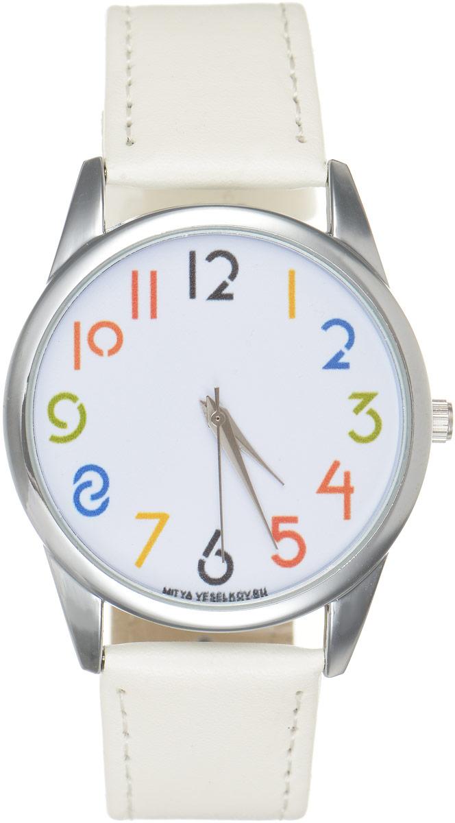 Часы наручные Mitya Veselkov Цифры, цвет: белый. MV.White-56BM8434-58AEОригинальные часы Mitya Veselkov Цифрыпонравятся вам с первого взгляда. Корпус часов выполнен из стали, и дополнен задней крышкой. В центре корпуса располагаются круглые кварцевые часы с тремя стрелками. Цифры на циферблате выполнены в разных цветах. Часы оснащены кожаным ремешком, который фиксируется с помощью пряжки. Часы упакованы в фирменную упаковку в виде стакана. Такие часы станут отличным подарком человеку, любящему качественные и оригинальные вещи.