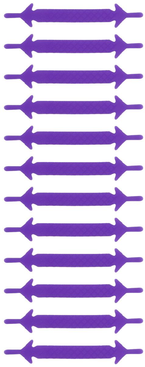 Шнурки силиконовые Hilace Group, цвет: фиолетовый, 12 шт391602Оригинальные силиконовые шнурки Hilace Group не оставят вас равнодушными благодаря своему яркому дизайну и практичности. Они изготовлены из качественного термостойкого силикона. Такие шнурки упростят надевание обуви и надежно зафиксируют ее без стягивания стопы, выдержат низкие и высокие температуры, подойдут как взрослым, так и детям.