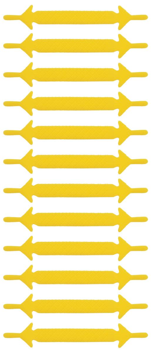 Шнурки силиконовые Hilace Group, цвет: желтый, 12 штMW-3101Оригинальные силиконовые шнурки Hilace Group не оставят вас равнодушными благодаря своему яркому дизайну и практичности. Они изготовлены из качественного термостойкого силикона. Такие шнурки упростят надевание обуви и надежно зафиксируют ее без стягивания стопы, выдержат низкие и высокие температуры, подойдут как взрослым, так и детям.