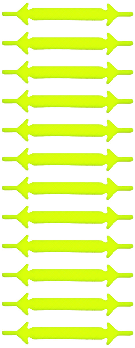 Шнурки флуоресцентные силиконовые Hilace Group, цвет: желтый, 12 шт54 002814Оригинальные флуоресцентные силиконовые шнурки Hilace Group не оставят вас равнодушными благодаря своему яркому дизайну и практичности. Они изготовлены из качественного термостойкого силикона. Также они обладают флуоресцентными свойствами и светятся в темноте. Такие шнурки упростят надевание обуви и надежно зафиксируют ее без стягивания стопы, выдержат низкие и высокие температуры, подойдут как взрослым, так и детям.