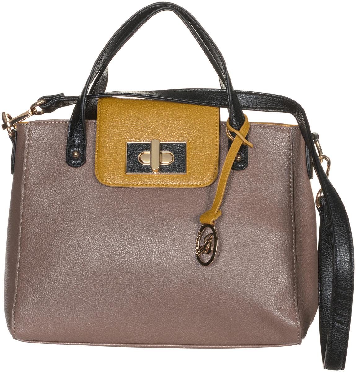 Сумка женская Jane Shilton, цвет: светло-коричневый, горчичный. 213823008Стильная сумка Jane Shilton не оставит вас равнодушной благодаря своему дизайну и практичности. Она изготовлена из качественной искусственной кожи зернистой текстуры. На тыльной стороне расположен удобный вшитый карман на молнии. Сумка оснащена удобными ручками, которые оформлены металлической фирменной подвеской. Также сумка дополнена съемным плечевым ремнем, который фиксируется с помощью замков-карабинов. Изделие закрывается на удобную молнию. Внутри расположено одно главное отделение на молнии, которое разделяет карман-средник на молнии. Также внутри расположен один открытый накладной карман для телефона и один вшитый карман на молнии для мелочей. Такая модная и практичная сумка завершит ваш образ и станет незаменимым аксессуаром в вашем гардеробе.