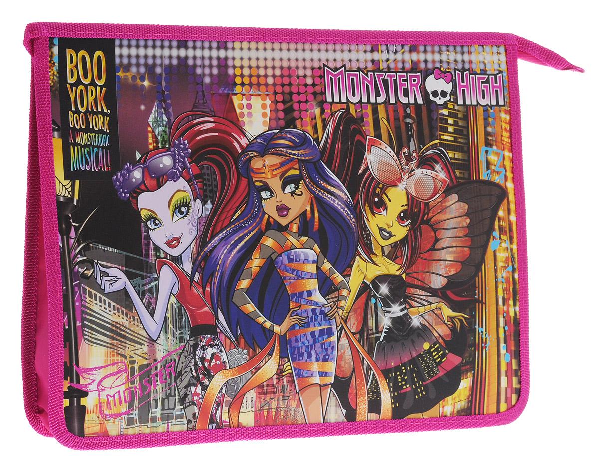 Centrum Папка Monster High 8715337836_синий,желтыйПапка Centrum Monster High предназначена для хранения различных бумаг формата А4, а также школьных тетрадей и письменных принадлежностей. Папка оформлена яркими изображениями героинь мультфильма Monster High.Изготовлена из прочного пластика и надежно закрывается на застежку-молнию.Папка практична в использовании и надежно сохранит ваши бумаги и сбережет их от повреждений, пыли и влаги.Не рекомендуется детям до 3-х лет.