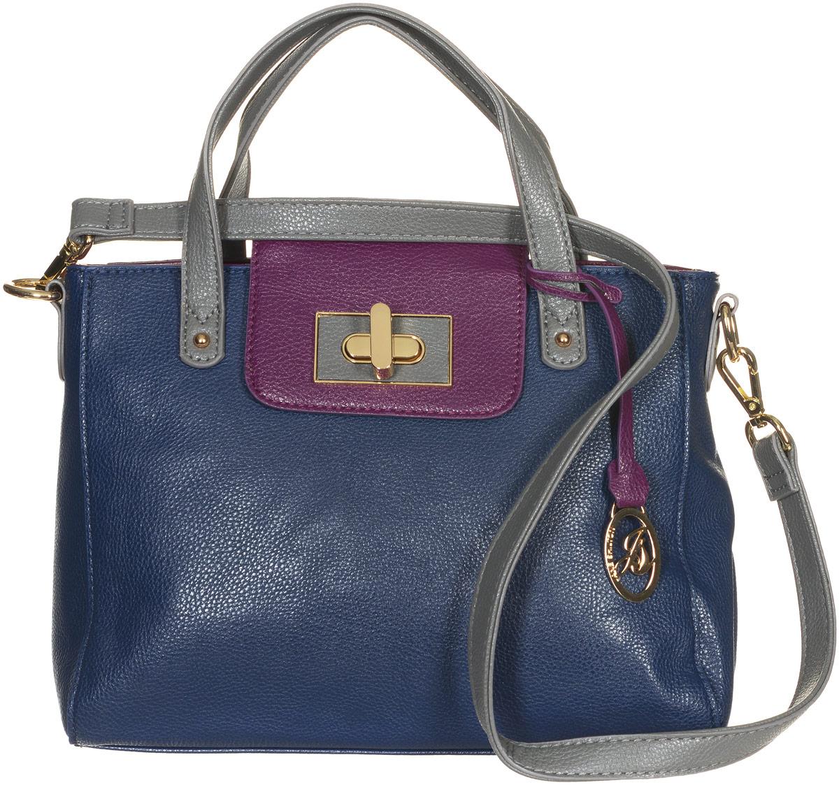 Сумка женская Jane Shilton, цвет: темно-синий, пурпурный. 213871069с-2Стильная сумка Jane Shilton не оставит вас равнодушной благодаря своему дизайну и практичности. Она изготовлена из качественной искусственной кожи зернистой текстуры. На тыльной стороне расположен удобный вшитый карман на молнии. Сумка оснащена удобными ручками, которые оформлены металлической фирменной подвеской. Также сумка дополнена съемным плечевым ремнем, который фиксируется с помощью замков-карабинов. Изделие закрывается на удобную молнию. Внутри расположено одно главное отделение на молнии, которое разделяет карман-средник на молнии. Также внутри расположен один открытый накладной карман для телефона и один вшитый карман на молнии для мелочей. Такая модная и практичная сумка завершит ваш образ и станет незаменимым аксессуаром в вашем гардеробе.