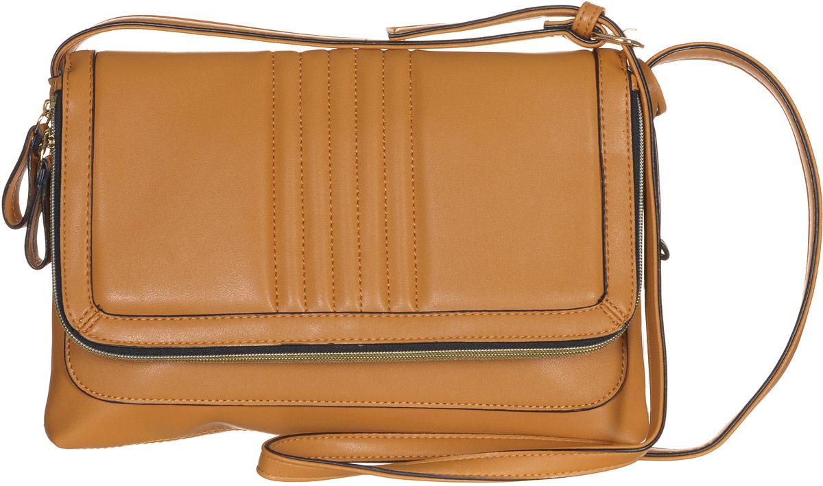 Сумка женская Jane Shilton, цвет: светло-коричневый. 2159967-637T-17s-01-42Стильная сумка Jane Shilton не оставит вас равнодушной благодаря своему дизайну и практичности. Она изготовлена из качественной искусственной кожи и оформлена декоративной прострочкой. Сумка оснащена удобным плечевым ремнем, длина которого регулируется с помощью пряжки. Изделие закрывается клапаном на магнитную кнопку. Клапан оснащен внутреннимвместительным карманом, который закрывается на удобную молнию. Под клапаном расположен открытый накладной карман. Внутри расположено главное отделение, которое содержит один открытый накладной карман для телефона и один вшитый карман на молнии для мелочей. Такая модная и практичная сумка завершит ваш образ и станет незаменимым аксессуаром в вашем гардеробе.