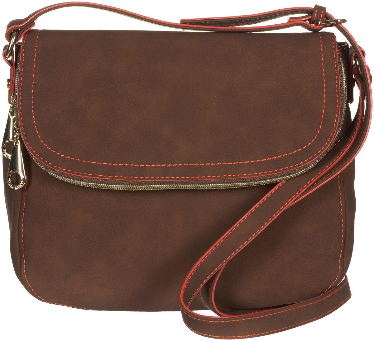 Сумка женская Jane Shilton, цвет: коричневый. 2145S76245Стильная сумка Jane Shilton не оставит вас равнодушной благодаря своему дизайну и практичности. Она изготовлена из качественной искусственной кожи и оформлена контрастной прострочкой. На тыльной стороне расположен удобный вшитый карман на молнии. Сумка оснащена удобным плечевым ремнем, длина которого регулируется с помощью пряжки. Изделие закрывается клапаном на магнитную кнопку. Клапан оснащен внутреннимвместительным карманом, который закрывается на удобную молнию. Внутри расположено главное отделение, которое содержит один открытый накладной карман для телефона и один вшитый карман на молнии для мелочей. Такая модная и практичная сумка завершит ваш образ и станет незаменимым аксессуаром в вашем гардеробе.