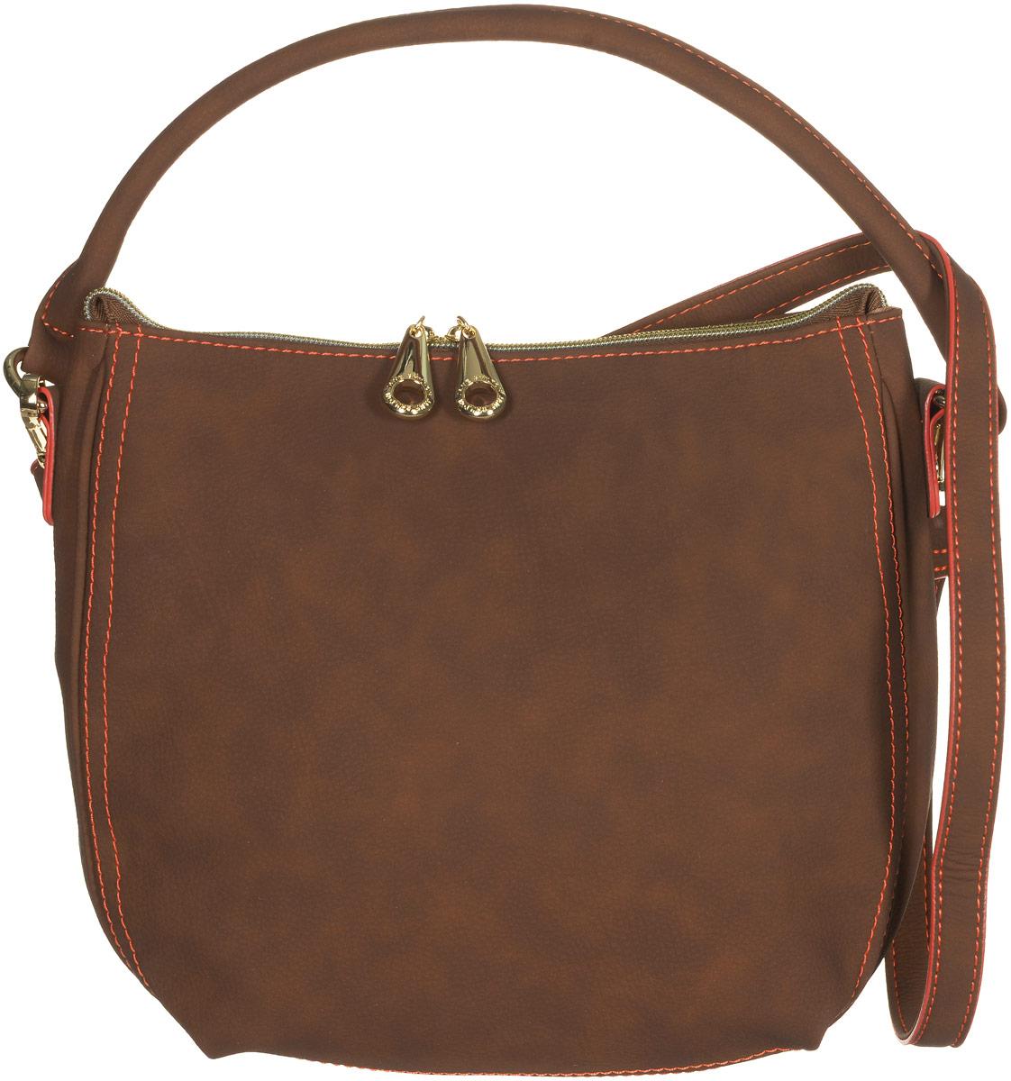 Сумка женская Jane Shilton, цвет: коричневый. 21443-47670-00504Стильная сумка Jane Shilton не оставит вас равнодушной благодаря своему дизайну и практичности. Она изготовлена из качественной искусственной кожи и оформлена контрастной прострочкой. На тыльной стороне расположен удобный вшитый карман на молнии. Сумка оснащена удобной ручкой и съемным плечевым ремнем, который фиксируется с помощью замков-карабинов. Изделие закрывается на удобную молнию. Внутри расположено главное отделение, которое содержит один открытый накладной карман для телефона и один вшитый карман на молнии для мелочей. Такая модная и практичная сумка завершит ваш образ и станет незаменимым аксессуаром в вашем гардеробе.