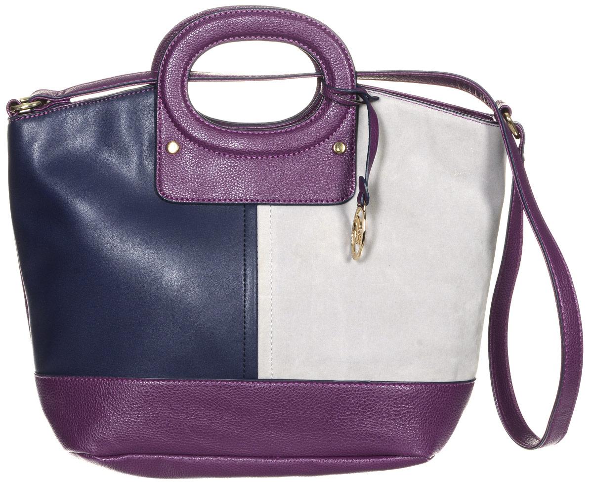 Сумка женская Jane Shilton, цвет: темно-синий, пурпурный, серый. 213323008Стильная сумка Jane Shilton не оставит вас равнодушной благодаря своему дизайну и практичности. Она изготовлена из качественной искусственной кожи зернистой, гладкой и ворсистой текстуры разных цветов. На тыльной стороне расположен удобный вшитый карман на молнии. Изделие оснащено удобным плечевым ремнем и удобными ручками, которые оформлены металлической фирменной подвеской. Изделие закрывается на удобную молнию. Внутри расположено одно главное отделение, которое разделяет карман-средник на молнии. Также внутри расположен один открытый накладной карман для телефона и один вшитый карман на молнии для мелочей. Такая модная и практичная сумка завершит ваш образ и станет незаменимым аксессуаром в вашем гардеробе.