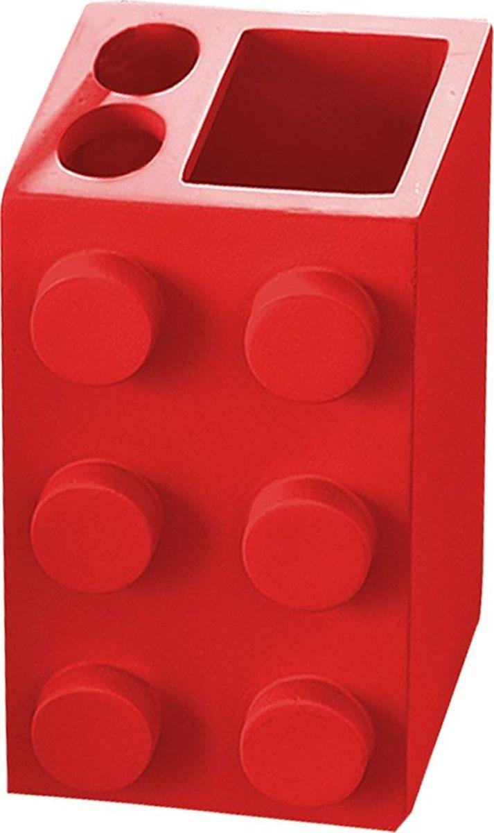 Стакан для зубных щеток Ridder Bob, цвет: красный мыльница ridder bob цвет зеленый
