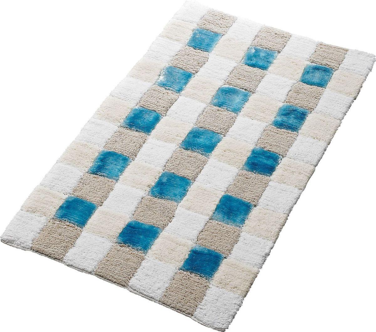Коврик для ванной Ridder Carre, цвет: белый, голубой, 70 х 120 см коврик для ванной ridder grand prix цвет белый синий 55 х 85 см
