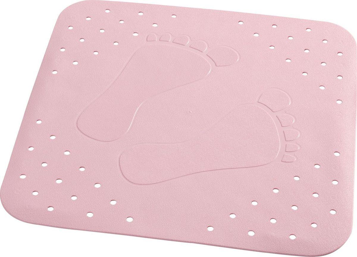 Коврик для ванной Ridder Plattfuss, противоскользящий, на присосках, цвет: розовый, 54 х 54 см коврик для ванной ridder park противоскользящий на присосках цвет бежевый 54 х 54 см