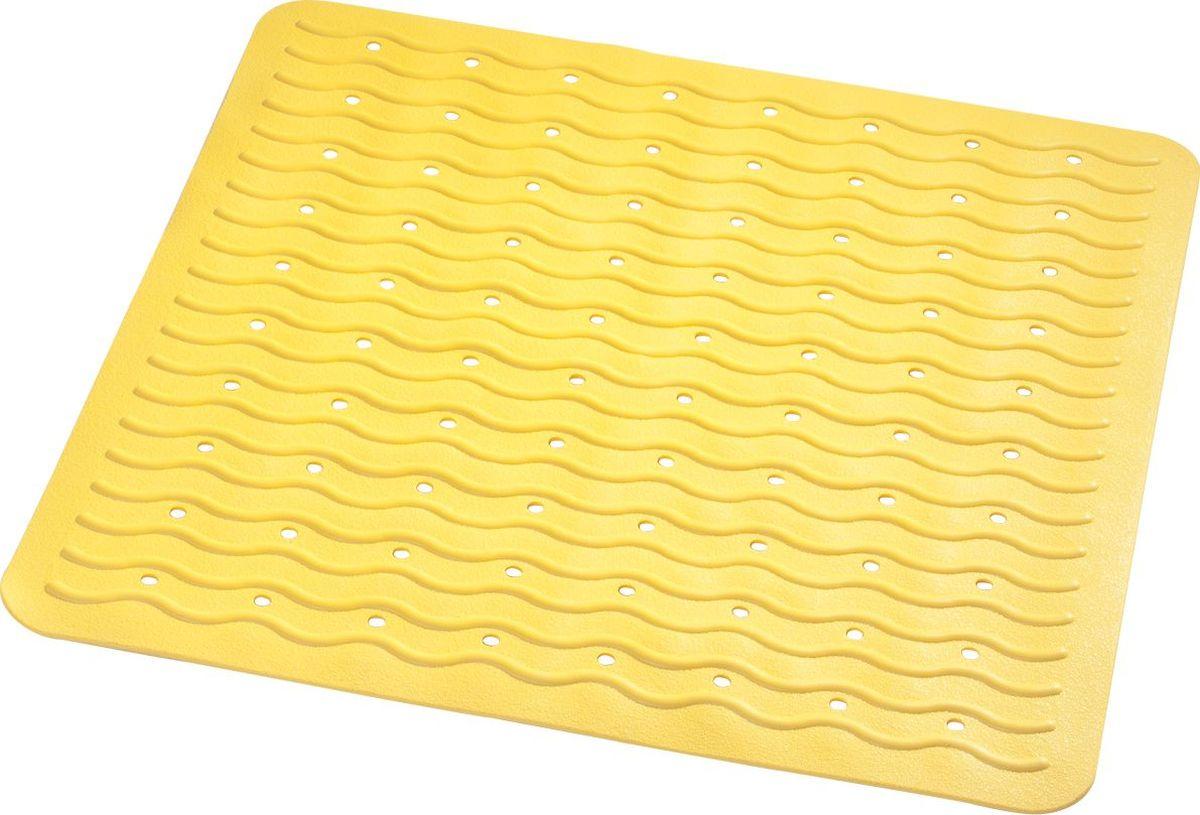 Коврик для ванной Ridder Playa, противоскользящий, на присосках, цвет: желтый, 54 х 54 см коврик для ванной ridder park противоскользящий на присосках цвет бежевый 54 х 54 см