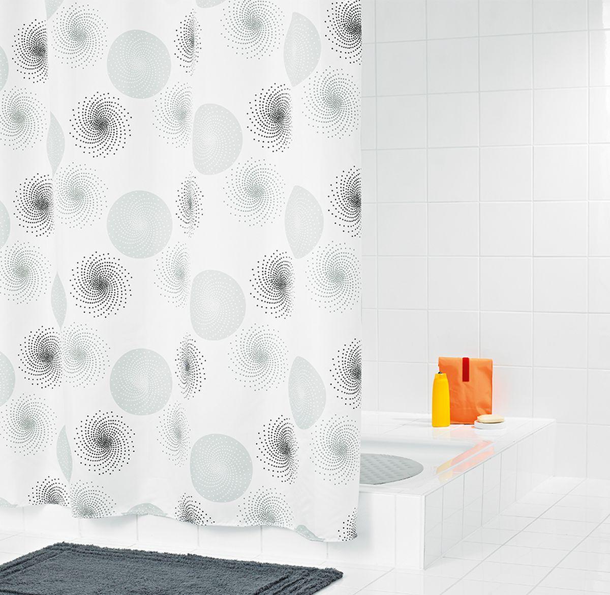 Штора для ванной комнаты Ridder  Hurricane , цвет: белый, серый, 180 х 200 см - Шторки, кольца и карнизы для ванной