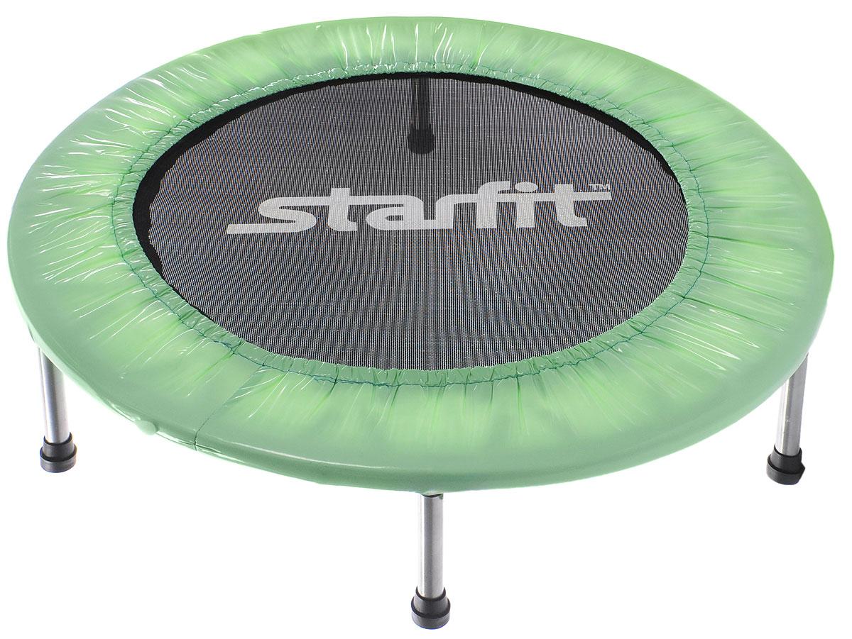Батут Starfit, цвет: мятный, черный, серый, диаметр 91 смУТ-00008872Батут Star Fit предназначен для тренировок детей и взрослых. Его можно использовать как на улице, так и в помещении. На батуте можно прыгать, кувыркаться, играть, проводить спортивные состязания, экстремальные шоу и многое другое.Основная задача батута - физическое развитие, нагрузки, укрепление различных групп мышц, гармоничное развитие всего организма. Для занятий на батуте можно использовать дополнительный инвентарь: гантели, скакалку. Все это поможет разнообразить комплекс упражнений и достичь оптимального результата. А поскольку придется прилагать значительные усилия, чтобы скоординировать движения и сохранить равновесие, будьте уверены, что ни одна мышца тела не останется неохваченной.Защитные колпачки на ножках батута съемные.Занятия на батуте способствуют укреплению не только всех без исключения групп мышц, но и помогают развивать гибкость, а также сжигают немало лишних калорий!Диаметр батута: 91 см.Количество ножек: 6.Высота батута: 22 см.Форма ножек: прямые.