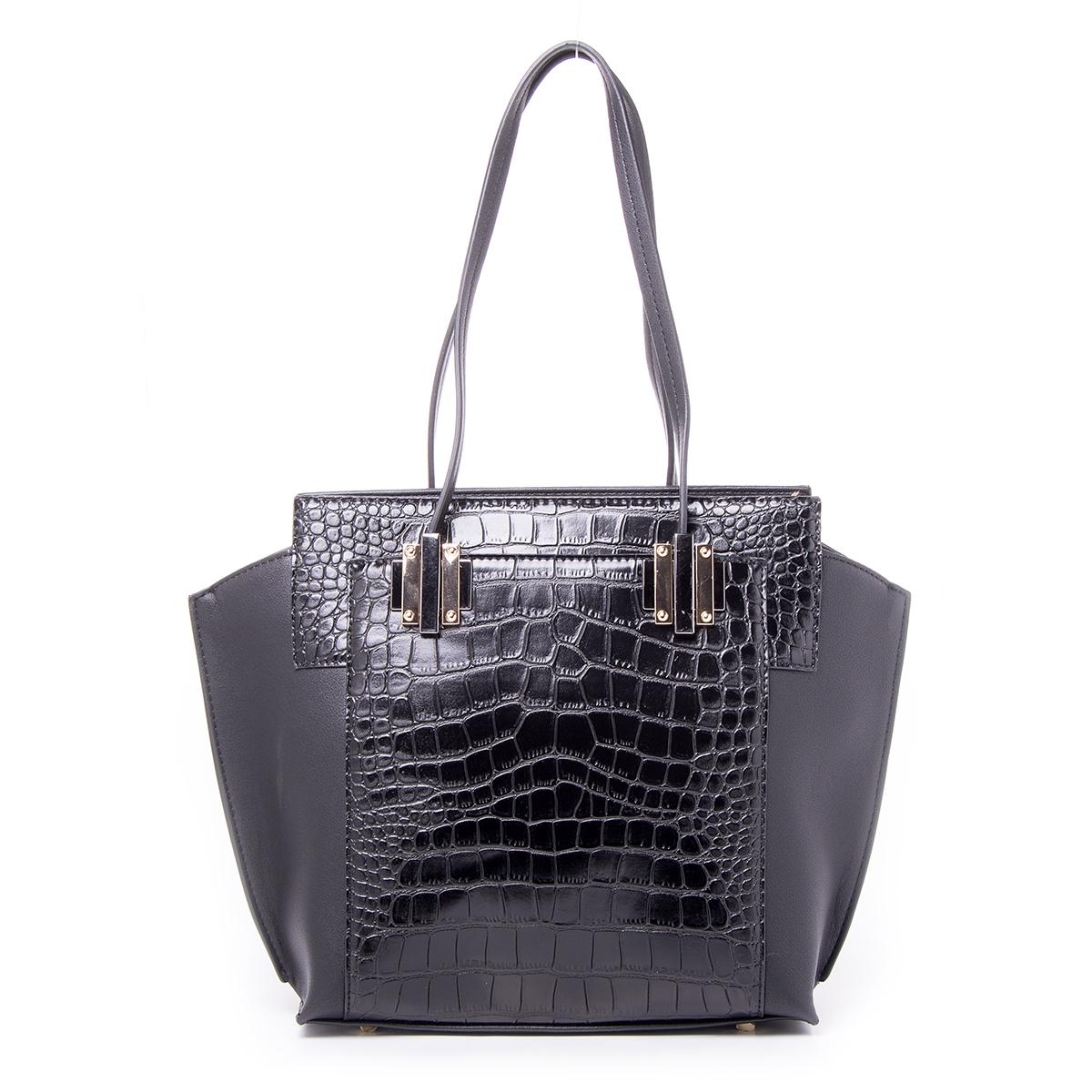 Сумка женская Renee Kler, цвет: черный. RF028-0123008Стильная женская сумка Renee Kler выполнена из качественной искусственной кожи. Поверхность сумки выполнена с декоративным тиснением.Сумка имеет одно отделение и застегивается на молнию. Внутри отделения находятся два накладных кармана и один врезной карман на застежке-молнии. С двух сторон сумка дополнена большими накладными карманами на магнитных кнопках. Сумка оснащена двумя удобными ручками на металлической фурнитуре.