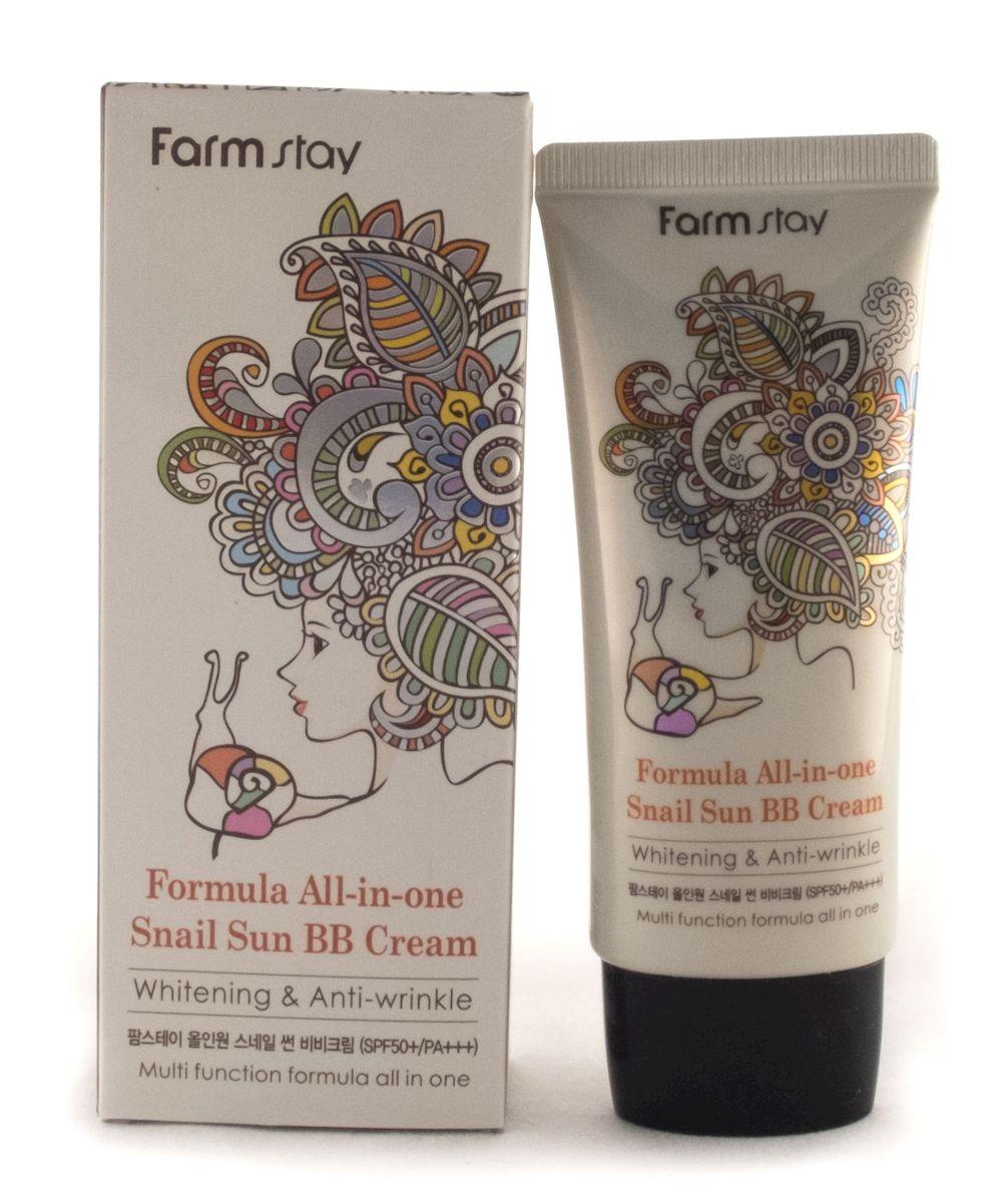 FarmStay All-in one Snail Sun BB CreamМногофункциональный BB крем с экстрактом улитки SPF50+/PA+++, 50 мл7384303Тональный BB-крем для лица, основные функции (3 в 1): защита от солнца (SPF 50+/PA+++)+ отбеливание +борьба с морщинами. Обеспечит вашу кожу УФ-защитой, блокируя как UVA, так и UVB лучи, маскирует недостатки кожи, скрывает пигментацию, неровности, не создает эффекта маски, отбеливает кожу, придает ей эластичность и борется с морщинами.
