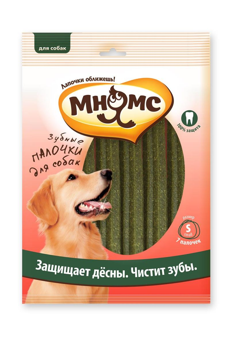 Лакомство для собак Мнямс Зубные палочки, размер S, 7 шт00000000730Низкокалорийное жевательное лакомство для собак - вкусное и здоровое угощение. Содержит мало жиров и богато клетчаткой. Оригинальная форма и текстура помогают чистить зубы собаки от налета.Лакомства МНЯМС изготавливаются только из натуральных компонентов, включая зеленые морские водоросли. Уровень хлорофилла определяет окраску водорослей в природе: чем его больше, тем интенсивнее зеленый цвет. Естественный цвет морских водорослей в составе лакомств МНЯМС определяет цвет конечного продукта, именно поэтому зеленый оттенок снеков может варьироваться. Не содержит искусственных добавок и красителей.Белок (22%), жиры и масла (4,5%), клетчатка (3,0%), зола (4,0%), влажность (12,0%). Злаки, мясо и производные животного происхождения (10% курица), сахар, производные растительного происхождения, масла и жиры. Добавки: консерванты и красители. Давать в виде дополнения к основному питанию. Подходят для щенков с 4-месячного возраста. Свежая вода всегда должна быть доступна вашем питомцу.