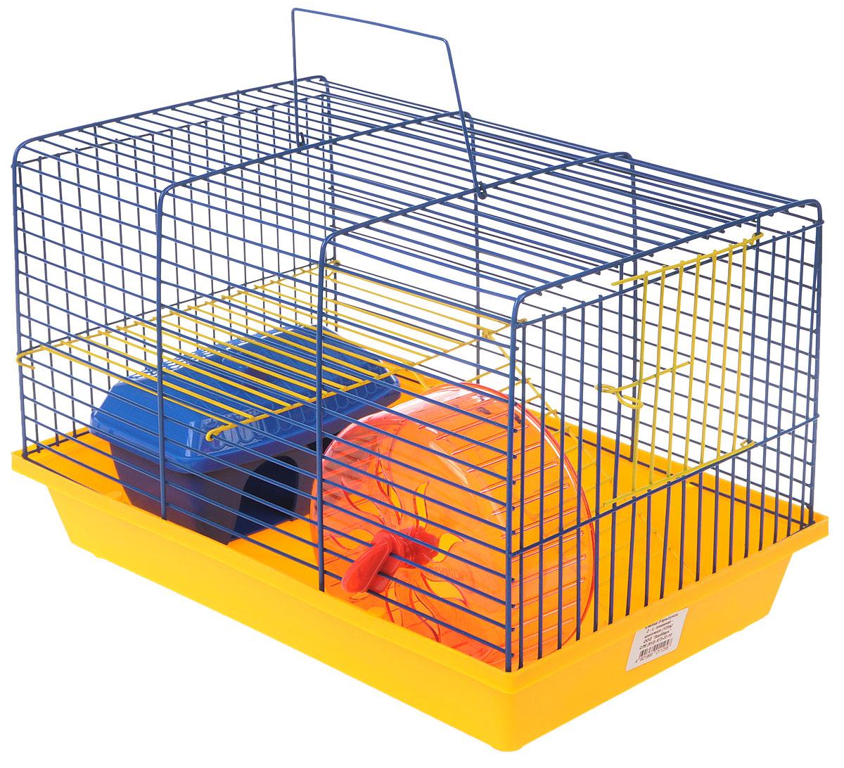 Клетка для грызунов ЗооМарк, 2-этажная, цвет: желтый поддон, синяя решетка, желтый этаж, 36 х 22 х 24 см0120710Клетка ЗооМарк, выполненная из полипропилена и металла, подходит для мелких грызунов. Изделие двухэтажное, оборудовано колесом для подвижных игр и пластиковым домиком. Клетка имеет яркий поддон, удобна в использовании и легко чистится. Сверху имеется ручка для переноски, а сбоку удобная дверца. Такая клетка станет уединенным личным пространством и уютным домиком для маленького грызуна.