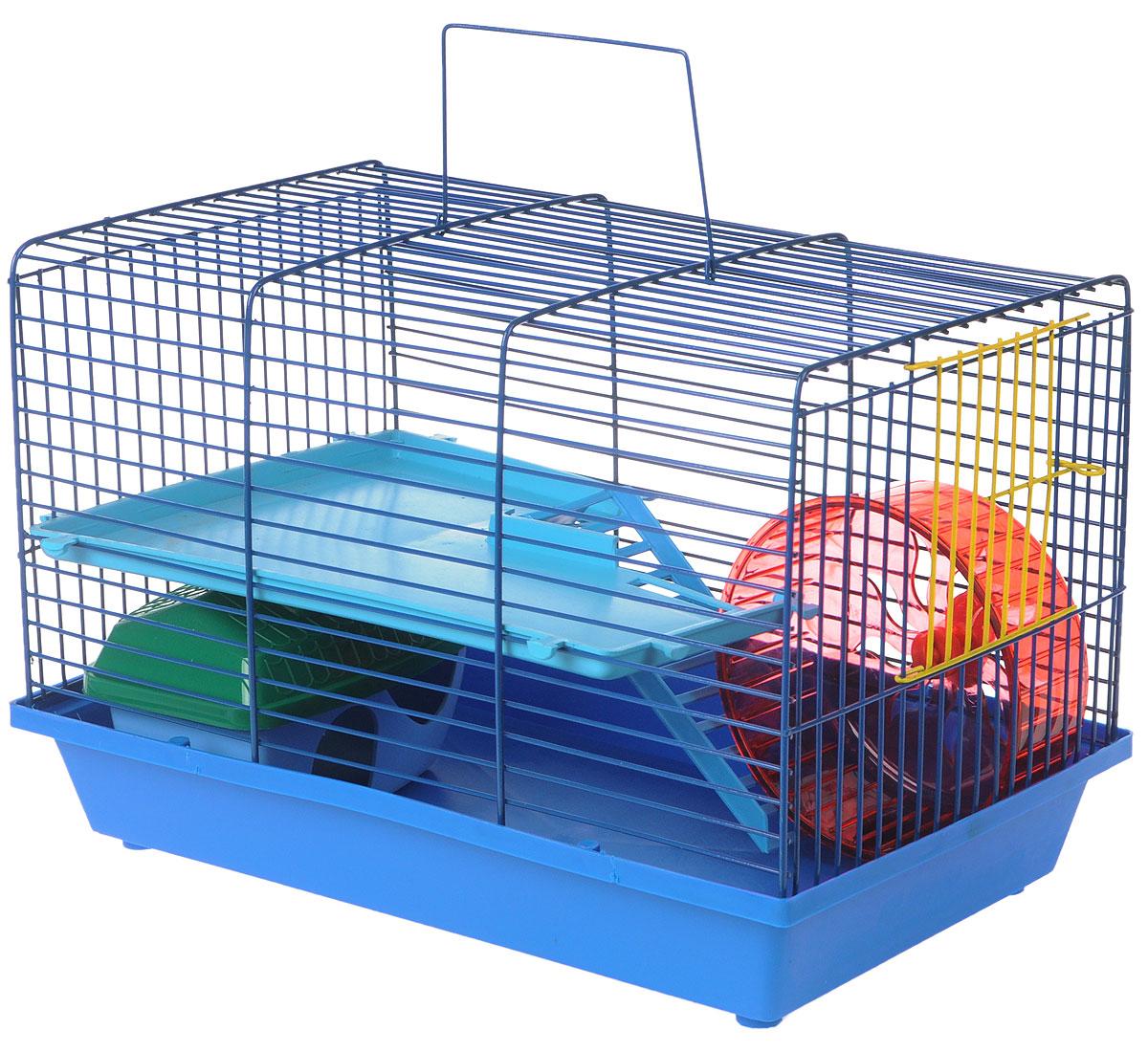 Клетка для грызунов ЗооМарк, 2-этажная, цвет: синий поддон, синяя решетка, голубой этаж, 36 х 23 х 24 см0120710Клетка ЗооМарк, выполненная из полипропилена и металла, подходит для мелких грызунов. Изделие двухэтажное, оборудовано колесом для подвижных игр и пластиковым домиком. Клетка имеет яркий поддон, удобна в использовании и легко чистится. Сверху имеется ручка для переноски, а сбоку удобная дверца. Такая клетка станет уединенным личным пространством и уютным домиком для маленького грызуна.