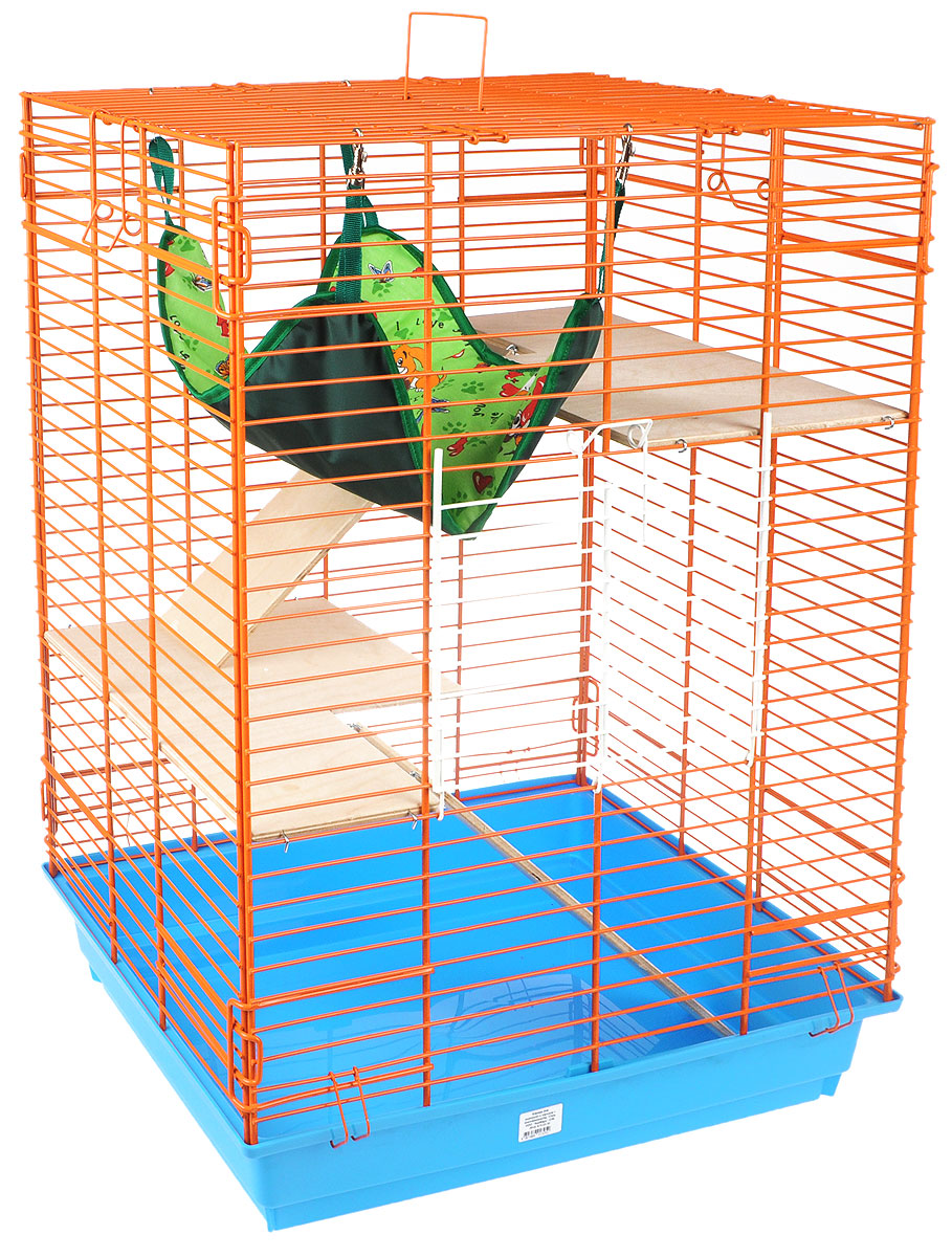 Клетка для шиншилл и хорьков ЗооМарк, цвет: голубой поддон, оранжевая решетка, 59 х 41 х 79 см. 725дк0120710Клетка ЗооМарк, выполненная из полипропилена и металла, подходит для шиншилл и хорьков. Большая клетка оборудована длинными лестницами и гамаком. Изделие имеет яркий поддон, удобно в использовании и легко чистится. Сверху имеется ручка для переноски. Такая клетка станет уединенным личным пространством и уютным домиком для грызуна.