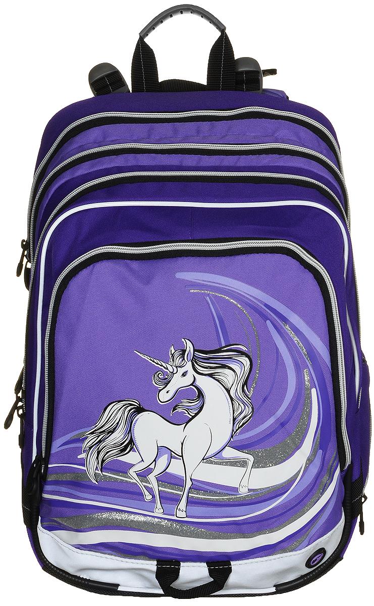 BagMaster Рюкзак детский с наполнением цвет фиолетовый 1 предмет72523WDДетский рюкзак BagMaster обязательно понравится вашей школьнице.Рюкзак выполнен из прочных и высококачественных материалов. Содержит три вместительных отделения, закрывающихся на застежки-молнии с двумя бегунками. Бегунки застежек дополнены удобными металлическими держателями. Внутри первого отделения находятся органайзер для канцелярских принадлежностей, карман-сетка на молнии, карман на липучке под мобильный телефон и лента с карабином для ключей. Во втором отделении находится бирка для заполнения личных данных ученика. Лицевая сторона рюкзака оснащена накладным вместительным карманом на молнии, внутри которого располагается открытый карман. Рюкзак имеет один боковой карман для бутылки с водой. Специально разработанная архитектура спинки со стабилизирующими набивными элементами повторяет естественный изгиб позвоночника. Набивные элементы обеспечивают вентиляцию спины ребенка. Задняя часть спинки дополнена легкой алюминиевой рамкой, повторяющей контур позвоночника и снимающей нагрузку. Мягкие широкие лямки анатомической формы повторяют естественный изгиб плечевого пояса, обеспечивая комфортную посадку рюкзака и свободу движений. Лямки имеют регулируемую длину. Рюкзак оснащен эргономичной ручкой для удобной переноски в руке и петлей для подвешивания. Прочное дно с пластиковыми ножками обеспечивает рюкзаку хорошую устойчивость и защиту от загрязнений. Светоотражающие элементы обеспечивают безопасность в темное время суток. К рюкзаку прилагается мешок для сменной обуви.Многофункциональный рюкзак станет незаменимым спутником вашего ребенка в походах за знаниями.