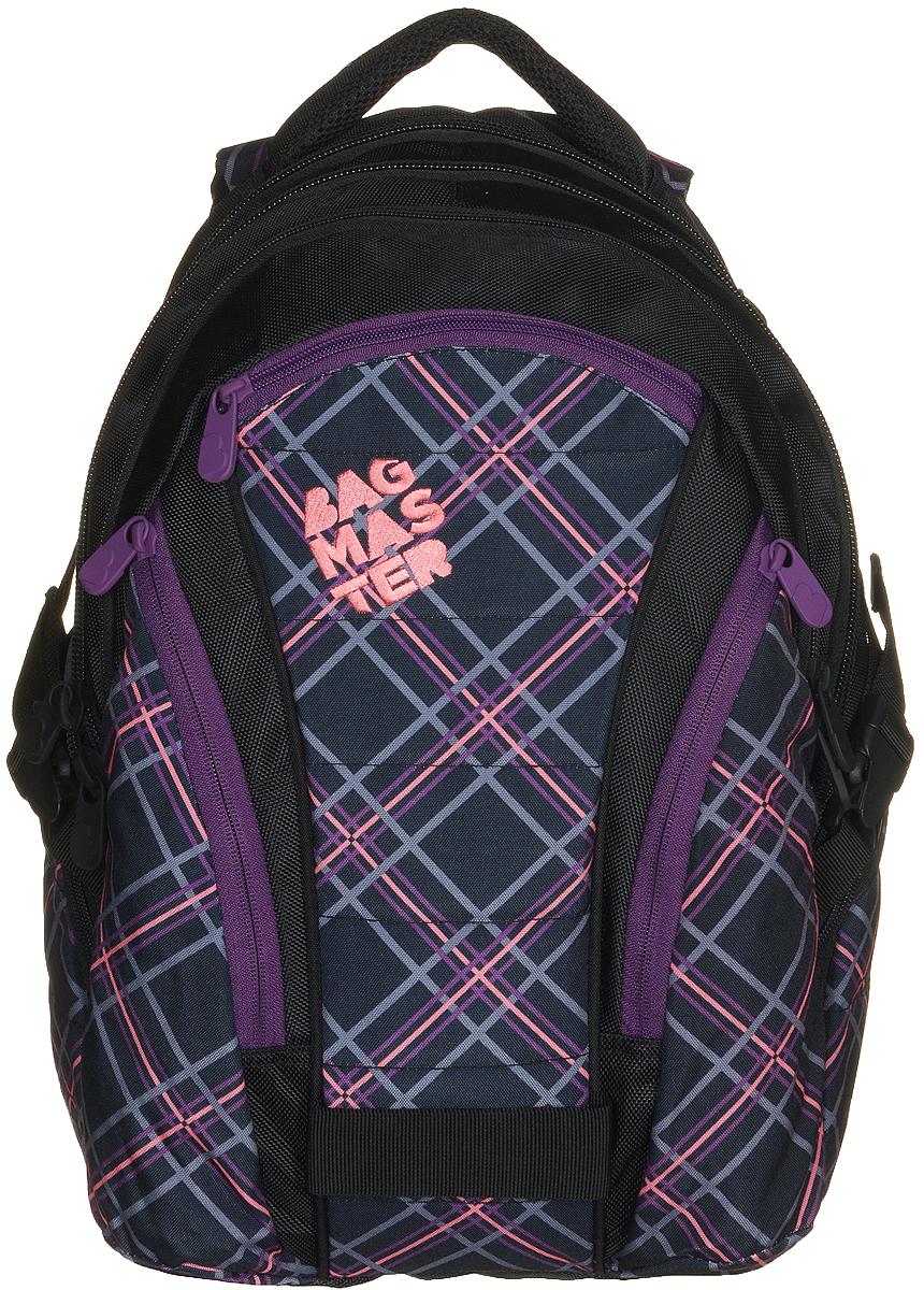 BagMaster Рюкзак детский цвет черный фиолетовый72523WDДетский рюкзак BagMaster сочетает в себе современный дизайн, функциональность и долговечность. Выполнен из прочных и высококачественных материалов.Рюкзак содержит три вместительных отделения, закрывающихся на застежки-молнии с двумя бегунками. В первом отделении располагаются карман-сетка на молнии, открытый карман, карман на липучке, органайзер для канцелярских принадлежностей и лента с карабином для ключей. Во втором отделении находится мягкий карман на липучке для ноутбука диагональю 15,4 дюйма. В третьем отделении находятся открытый карман на резинке и мягкий карман на липучке под мобильный телефон или плеер со специальным выводом для наушников. На лицевой стороне расположены три накладных кармана на молниях. Рюкзак имеет два вместительных боковых кармана на молниях. Анатомическая спинка из воздухопроницаемого материала и мягкие широкие лямки регулируемой длины повторяют естественный изгиб плечевого пояса, обеспечивая комфортную посадку рюкзака и свободу движений. Текстильная ручка предусмотрена для удобной переноски в руке.Этот рюкзак разработан специально для людей стильных и модных, любящих быть в центре внимания.