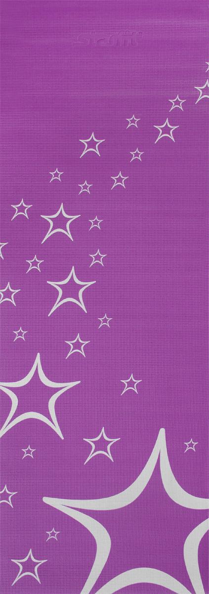 Коврик для йоги Starfit FM-102, цвет: фиолетовый, 173 х 61 х 0,4 смУТ-00008844Коврик для йоги Star Fit FM-102 - это незаменимый аксессуар для любого спортсмена как во время тренировки, так и во время пре-стретчинга (растяжки до тренировки) и стретчинга (растяжки после тренировки). Выполнен из высококачественного ПВХ и оформлен оригинальным рисунком в виде звезд. Коврик используется в фитнесе, йоге, функциональном тренинге. Его используют спортсмены различных видов спорта в своем тренировочном процессе.Предпочтительно использовать без обуви. Если в обуви, то с мягкой подошвой, чтобы избежать разрыва поверхности коврика.