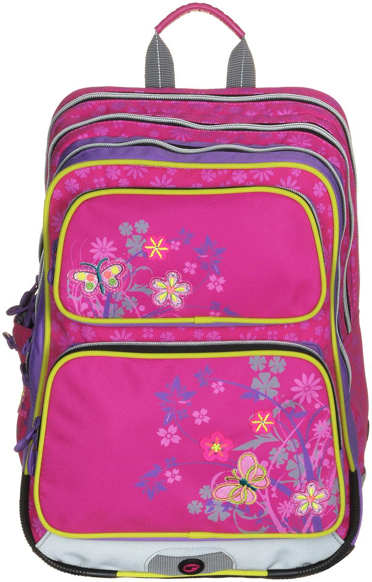 BagMaster Рюкзак детский Gotschy с наполнением цвет розовый 1 предмет72523WDДетский рюкзак BagMaster Gotschy обязательно понравится вашей школьнице.Рюкзак выполнен из прочных и высококачественных материалов. Содержит три вместительных отделения, закрывающихся на застежки-молнии с двумя бегунками. Бегунки застежек дополнены удобными металлическими держателями.Внутри наибольшего отделения находится карман-сетка на молнии. В другом отделении располагаются открытый кармашек, отделение на липучке для мобильного телефона и три держателя для пишущих принадлежностей. Лицевая сторона рюкзака оснащена двумя накладными карманами на застежках-молниях. Рюкзак имеет один открытый боковой карман-сетка с вертикальной молнией.Специально разработанная архитектура спинки со стабилизирующими набивными элементами повторяет естественный изгиб позвоночника. Набивные элементы обеспечивают вентиляцию спины ребенка. Задняя часть спинки дополнена легкой алюминиевой рамкой, повторяющей контур позвоночника и снимающей нагрузку.Мягкие широкие лямки анатомической формы повторяют естественный изгиб плечевого пояса, обеспечивая комфортную посадку рюкзака и свободу движений. Лямки имеют регулируемую длину. Грудное крепление предусмотрено для фиксации лямок на плечах ребенка.Рюкзак оснащен эргономичной ручкой для удобной переноски в руке. Прочное дно с пластиковыми ножками обеспечивает рюкзаку хорошую устойчивость и защиту от загрязнений. Светоотражающие элементы обеспечивают безопасность в темное время суток. К рюкзаку прилагается мешок для сменной обуви.Многофункциональный рюкзак станет незаменимым спутником вашего ребенка в походах за знаниями.