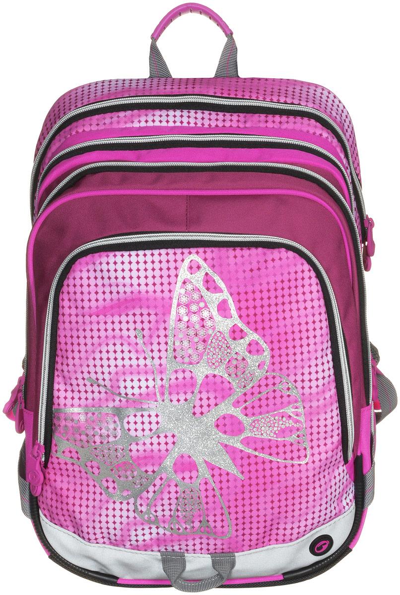 BagMaster Рюкзак детский с наполнением цвет розовый 1 предмет72523WDДетский рюкзак BagMaster обязательно понравится вашей школьнице.Рюкзак выполнен из прочных и высококачественных материалов. Содержит три вместительных отделения, закрывающихся на застежки-молнии с двумя бегунками. Бегунки застежек дополнены удобными металлическими держателями. Внутри первого отделения находятся органайзер для канцелярских принадлежностей, карман-сетка на молнии, карман на липучке под мобильный телефон и лента с карабином для ключей. В двух других отделениях карманов нет. Лицевая сторона рюкзака оснащена накладным вместительным карманом на молнии, внутри которого располагается открытый карман. Рюкзак имеет один боковой карман для бутылки с водой. Специально разработанная архитектура спинки со стабилизирующими набивными элементами повторяет естественный изгиб позвоночника. Набивные элементы обеспечивают вентиляцию спины ребенка. Задняя часть спинки дополнена легкой алюминиевой рамкой, повторяющей контур позвоночника и снимающей нагрузку. Мягкие широкие лямки анатомической формы повторяют естественный изгиб плечевого пояса, обеспечивая комфортную посадку рюкзака и свободу движений. Лямки имеют регулируемую длину. Грудное крепление предусмотрено для фиксации лямок на плечах ребенка. Рюкзак оснащен эргономичной ручкой для удобной переноски в руке и петлей для подвешивания. Прочное дно с пластиковыми ножками обеспечивает рюкзаку хорошую устойчивость и защиту от загрязнений. Светоотражающие элементы обеспечивают безопасность в темное время суток. К рюкзаку прилагается мешок для сменной обуви.Многофункциональный рюкзак станет незаменимым спутником вашего ребенка в походах за знаниями.