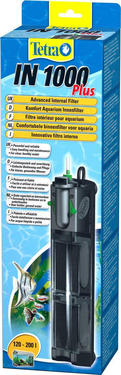 Фильтр внутренний Tetra IN 1000 Plus, для аквариумов до 200 л607675Внутренний фильтр для аквариумов Tetra IN 1000 Plus предназначен для механического, химического и биологического очищения воды в аквариумах объемом до 200 литров. Фильтр оснащен двумя камерами очистки, имеет удобную конструкцию, позволяющую вынимать фильтровые наполнители без контакта с губкой. В одном рабочем цикле он создает в аквариуме течение, близкое к естественному, и обогащает воду кислородом. Забор воздуха осуществляется с помощью регулируемой системы. Компактный дизайн прибора не занимает слишком большую площадь. Крепление с помощью присосок позволяет быстро поместить фильтр в любом подходящем месте аквариума. Объем аквариума: 120-200 л. Максимальный размер аквариума: 120 х 40 х 40 см. Мощность: 500-1000 л/час. Количество двойных картриджей: 2. Напряжение: 230 В / 50 Гц. Длина шнура: 1,5 м.