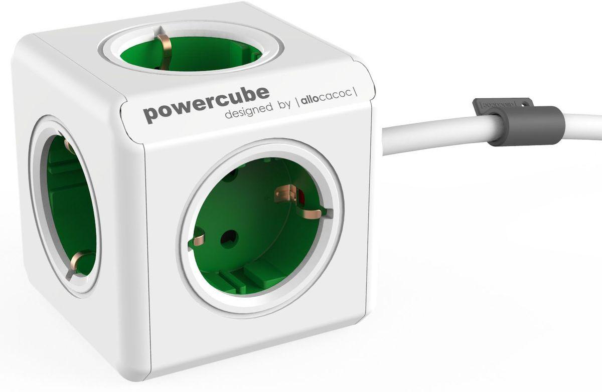 Allocacoc PowerCube Extended, Green сетевой разветвитель