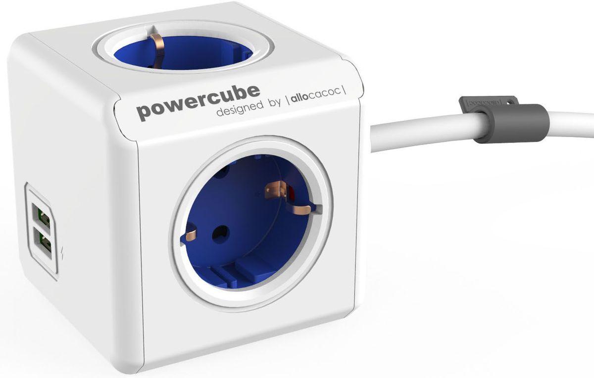 Allocacoc PowerCube Extended USB, Blue сетевой разветвитель1402BL/DEEUPCРазветвитель Allocacoc PowerCube Extended USB это самая популярная версия PowerCube. Наличие 1,5 (3-х) метрового шнура позволяет установить PowerCube в любом месте, располагая розетку в пределах досягаемости, больше нет необходимости лезть под стол, чтобы подключить Ваш ноутбук! PowerCube содержит USB-порт что позволяет заряжать широкий спектр устройств.Находясь в офисе, дома, на совещании или еще где-нибудь, бывает трудно найти свободную розетку для зарядки ноутбука или мобильного телефона. PowerCube решил эту проблему: количество розеток можно расширить, что позволит монтировать индивидуальный источник питания в пределах досягаемости.
