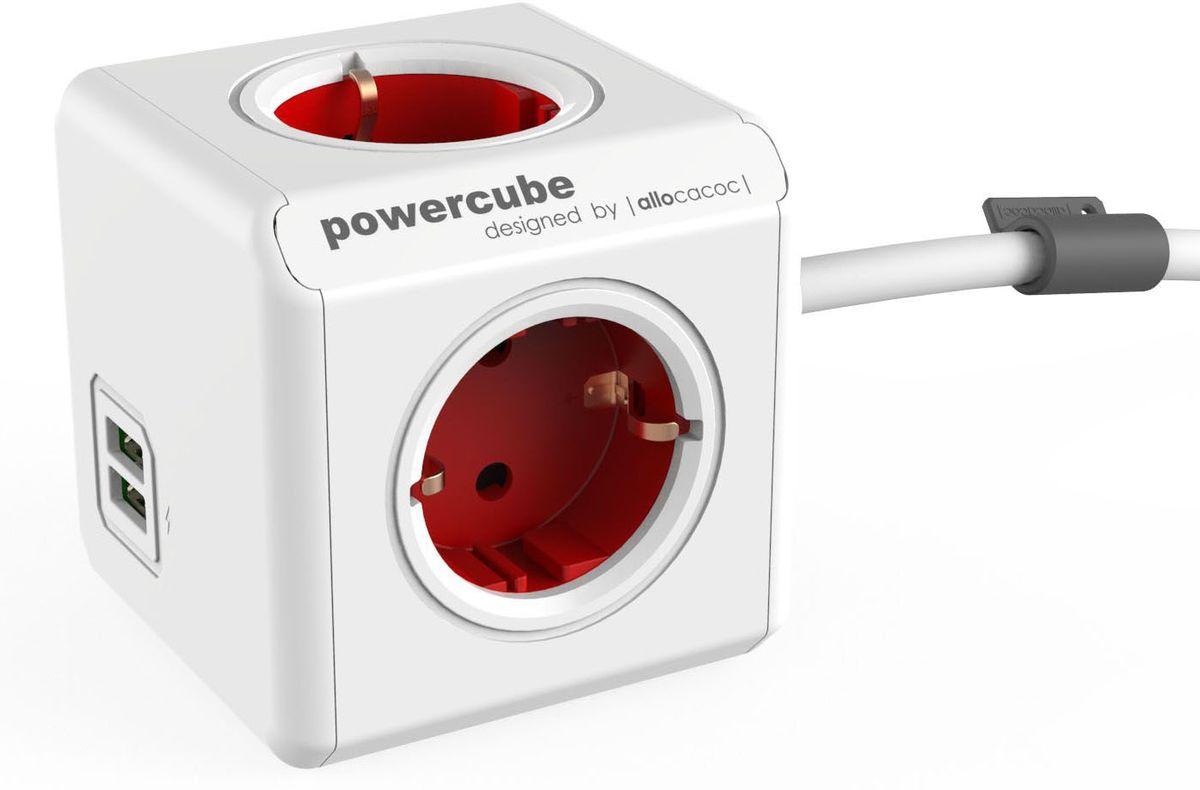 Allocacoc PowerCube Extended USB, Red сетевой разветвитель1402RD/DEEUPCРазветвитель Allocacoc PowerCube Extended USB это самая популярная версия PowerCube. Наличие 1,5 (3-х) метрового шнура позволяет установить PowerCube в любом месте, располагая розетку в пределах досягаемости, больше нет необходимости лезть под стол, чтобы подключить Ваш ноутбук! PowerCube содержит USB-порт что позволяет заряжать широкий спектр устройств.Находясь в офисе, дома, на совещании или еще где-нибудь, бывает трудно найти свободную розетку для зарядки ноутбука или мобильного телефона. PowerCube решил эту проблему: количество розеток можно расширить, что позволит монтировать индивидуальный источник питания в пределах досягаемости.