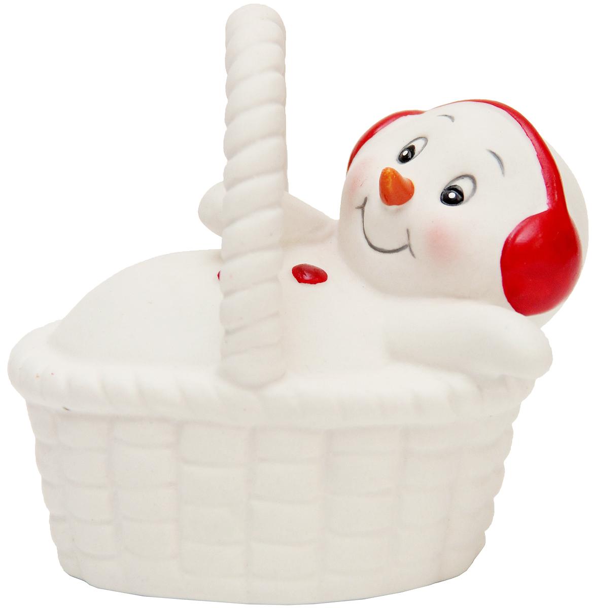 Фигурка новогодняя Magic Time Снеговик в корзине, высота 8 см искусственные ромашки в корзине